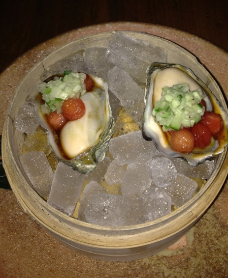 Kumamoto Oyster with watermelon pearls, cucumber mignonette