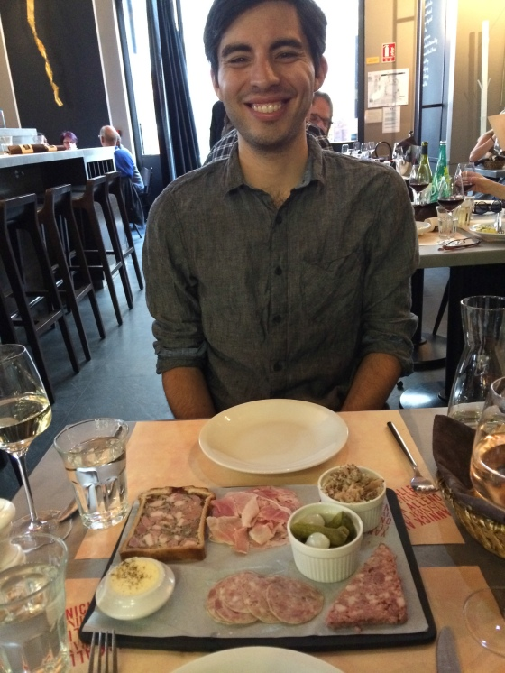 Enjoying charcuterie and cornichons at Terroir Parisien. The French like to start dinner with a plate full of meat. I say, pourquoi-pas?